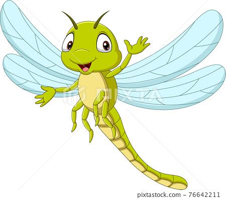 Cartoon funny dragonfly waving hand 76642211