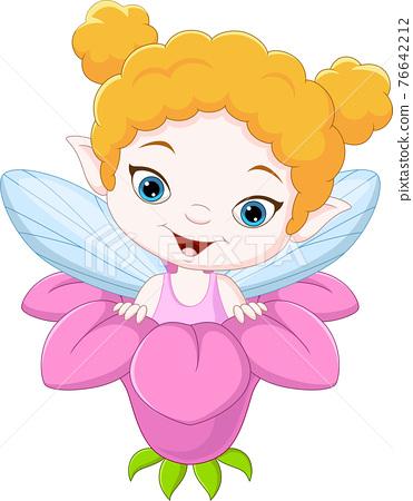 Cartoon little fairy inside the flower 76642212
