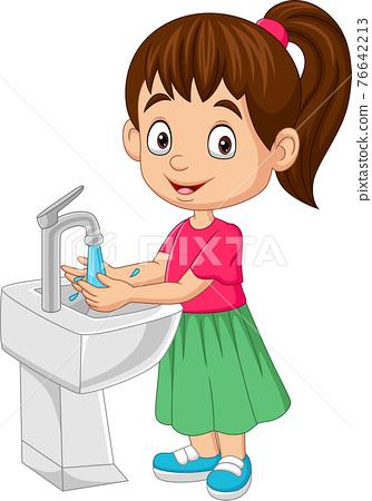 Cartoon little girl washing her hands 76642213