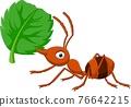 Cartoon ant with green leaf 76642215