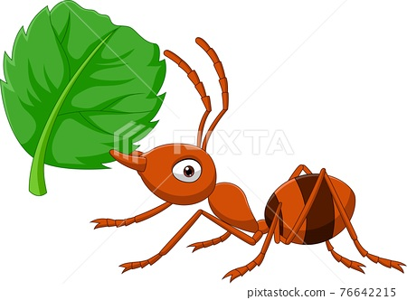 Cartoon ant with green leaf 76642215