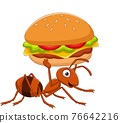 Cartoon funny ant carrying a burger 76642216
