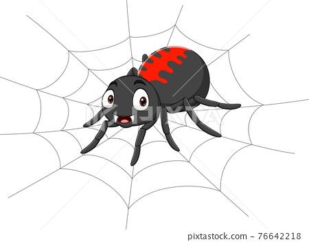 Cartoon spider on the cobweb 76642218