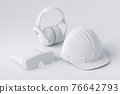Top view of monochrome construction tools for repair and installation on white 76642793