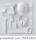 Top view of monochrome construction tools for repair and installation on white 76642804