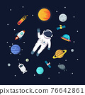 Astronaut man floating in space with planets background 76642861