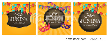 Festa Junina Background set with Party Flags. Brazil June Festival Background for Greeting Card, Invitation on Holiday. Vector Illustration 76643408