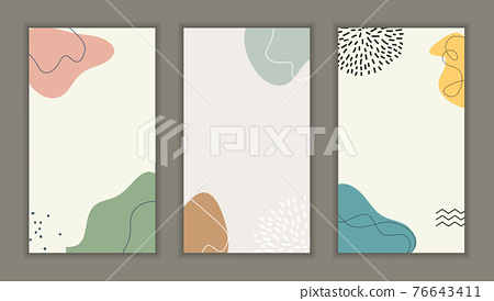 Abstract background set with minimal design element for business card, invitation, promotion poster, story in social network. Vector illustration 76643411