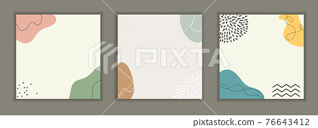 Abstract background set with minimal design element for business card, invitation, promotion poster, post in social network. Vector illustration 76643412