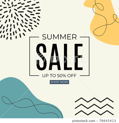 Summer Sale Abstract Background in Simple Minimal Style. Vector Illustration 76643413