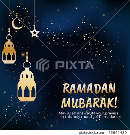 Ramadan Mubarak. Islamic Greeting Cards for Muslim Holidays. Vector Illustration 76643420