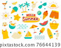 Hello summer collection set flat design on white background. Summer  symbols and objects colorful. 76644139