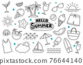Hello summer doodle on white background. Summer hand drawn symbols and objects. 76644140