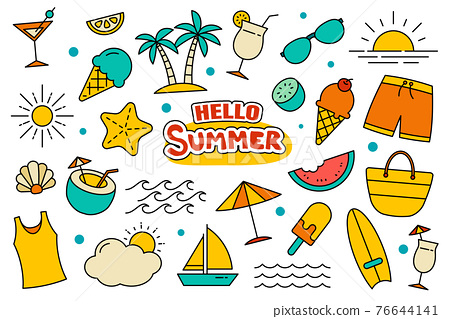 Hello summer collection set design on white background. Summer  symbols and objects colorful. 76644141
