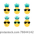 Pineapple with sunglasses. Summer vacation concept. 76644142
