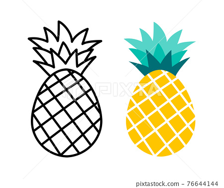 Pineapple fruit flat and outline design. Summer tropical fruits for healthy lifestyle. 76644144
