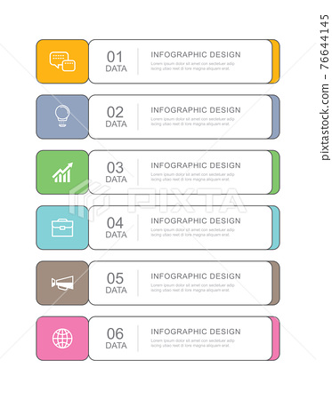 6 data infographics tab paper thin line index template. Vector illustration abstract background. Can be used for workflow layout, business step, banner, web design. 76644145