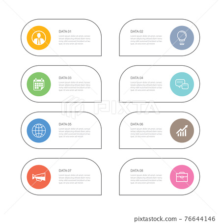 8 data infographics tab paper thin line index template. Vector illustration abstract background. Can be used for workflow layout, business step, banner, web design. 76644146