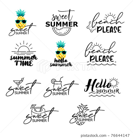 Summer labels set. Retro hand drawn elements for summer vintage style. 76644147