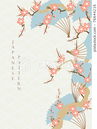 Japanese background with cherry blossom flower vector. Wave pattern with floral and fans decoration in vintage style. 76644216