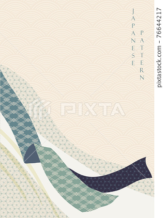 Japanese background with ribbon decoration vector. Geometric texture with Chinese wave pattern banner in vintage style. 76644217