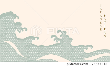 Japanese hand draw wave background with geometric pattern vector in vintage style. 76644218