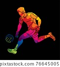 Gaelic Football Male Player Action Cartoon Sport Graphic Vector 76645005