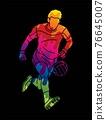 Gaelic Football Male Player Action Cartoon Sport Graphic Vector 76645007