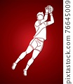Gaelic Football Male Player Action Cartoon Sport Graphic Vector 76645009