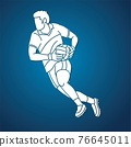 Gaelic Football Male Player Action Cartoon Sport Graphic Vector 76645011