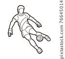Gaelic Football Male Player Action Cartoon Sport Graphic Vector 76645014