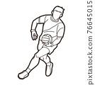 Gaelic Football Male Player Action Cartoon Sport Graphic Vector 76645015