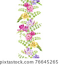 Freesia flower seamless border. Tender pink, violet, yellow spring blossoms. Endless decration floral element. Bright freesia watercolor illustration. Seamless border on white background 76645265