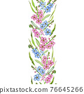 Forget-me-not flowers seamless border. Watercolor illustration. Summer tender blue and pink flower endless decoration. Elegant seamless border. Isolated on white background 76645266