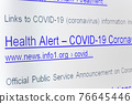 Internet search results for coronavirus with The links of imaginary no-existing websites on display. 76645446