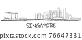 Singapore skyline freehand drawing sketch on white background. 76647331