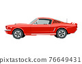 Nursery retro car drawing. Muscle car in cartoon style. Isolated vehicle print for boys playroom decor. Side view of sport automobile. Classic red auto for toddler wall art 76649431