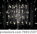 SilverEnglish alphabet and confetti on a black background, vector illustration. 76651507