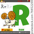 letter R worksheet with cartoon ram animal character 76652200
