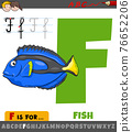 letter F from alphabet with cartoon fish animal character 76652206