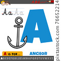 letter A from alphabet with cartoon anchor object 76652214