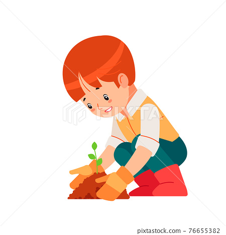 Little boy engaged gardening in the backyard. Montessori plant growing learning activity and nature education for preschool kid. Education Eco concept. Organic gardening. Cartoon vector illustration 76655382