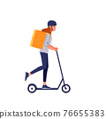 Young delivery woman in helmet with thermo bag or backpack riding a scooter along the city, delivering food. Courier, delivery service concept. Cartoon flat style vector illustration isolated. 76655383