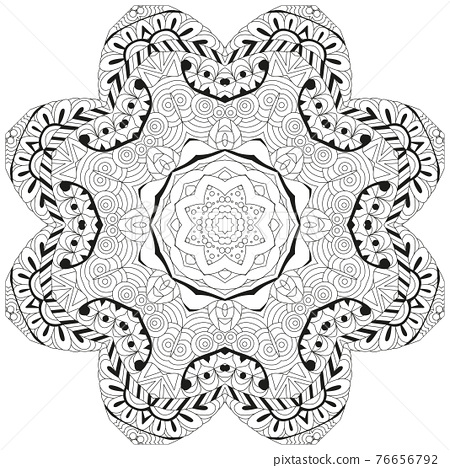 Hand drawn zentangle circular ornament for coloring page. 76656792