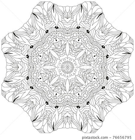 Hand drawn zentangle circular ornament for coloring page. 76656795