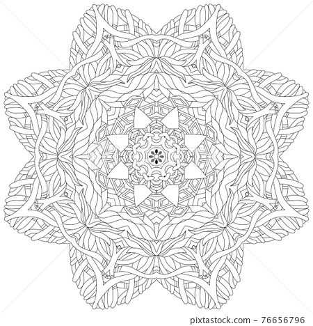 Hand drawn zentangle circular ornament for coloring page. 76656796