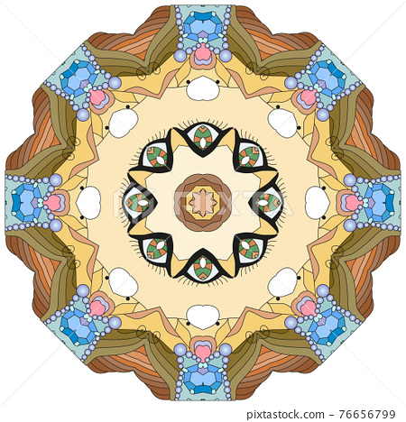Colorful cute Mandalas. Decorative unusual round ornaments. 76656799