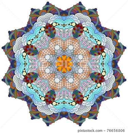 Colorful cute Mandalas. Decorative unusual round ornaments. 76656806
