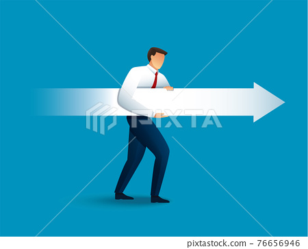 Businessman aims with huge arrow. vector illustration  76656946