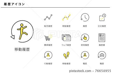 簡單的圖標集的各種歷史,矢量素材,黃色和黑色 76658955